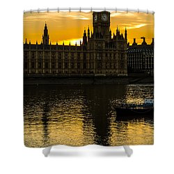 Big Ben Tower Golden Hour In London Shower Curtain