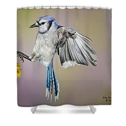 Big Blue In The Flowers Shower Curtain