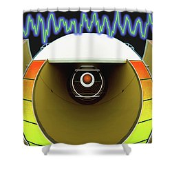 Shower Curtain featuring the digital art Big Boom Box by Wendy J St Christopher