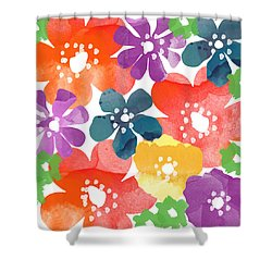 Big Bright Flowers Shower Curtain by Linda Woods