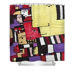 Shower Curtain featuring the tapestry - textile Big Brother by Don Koester