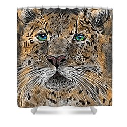 Shower Curtain featuring the digital art Big Cat by Darren Cannell