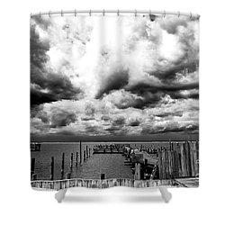 Big Clouds Little Dock Shower Curtain