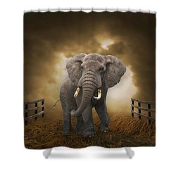 Shower Curtain featuring the mixed media Big Entrance Elephant Art by Marvin Blaine