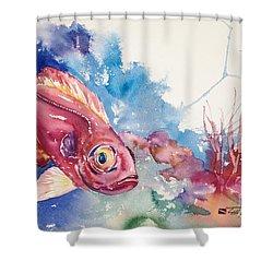Big Eye Squirrelfish Shower Curtain by Tanya L Haynes - Printscapes
