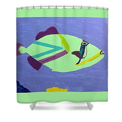 Shower Curtain featuring the painting Big Fish In A Small Pond by Karen Nicholson
