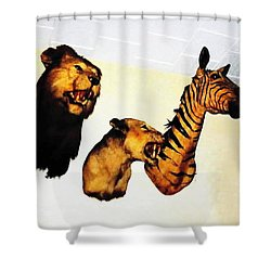 Big Game Africa - Zebras And Lions Shower Curtain