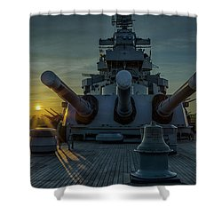 Big Guns At Sunset Shower Curtain by Denis Lemay
