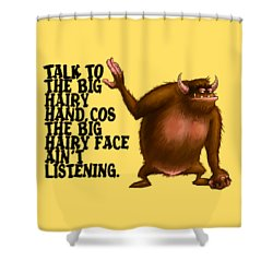 Big Hairy Hand Shower Curtain by Andy Catling