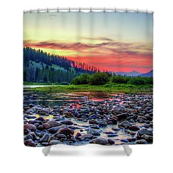 Shower Curtain featuring the photograph Big Hole River Sunset by Bryan Carter
