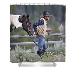 Big Horn Cowboy Shower Curtain by Diane Bohna