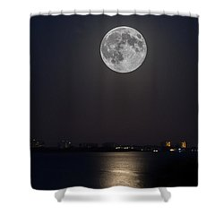 Big Moon Over The Bay Shower Curtain