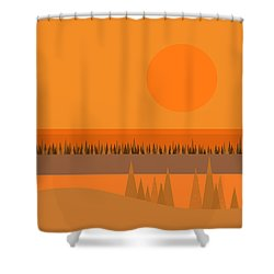 Shower Curtain featuring the digital art Big Orange Sun by Val Arie