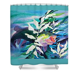 Big Pike On The Hunt Shower Curtain by Kathy Braud