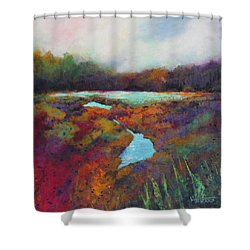 Big Pond In Fall Mc Cormick Woods Shower Curtain by Marti Green