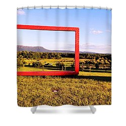 Big Red Frame Easthampton Shower Curtain