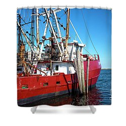 Shower Curtain featuring the photograph Big Red In Barnegat Bay by John Rizzuto
