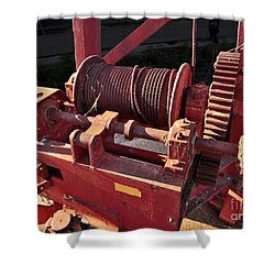 Shower Curtain featuring the photograph Big Red Winch by Stephen Mitchell
