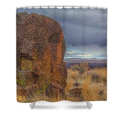 Big Rock At Lava Beds Shower Curtain