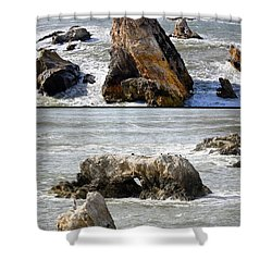 Shower Curtain featuring the photograph Big Rocks In Grey Water Duo by Barbara Snyder