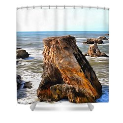 Shower Curtain featuring the photograph Big Rocks In Grey Water Painting by Barbara Snyder