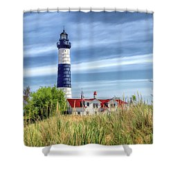 Shower Curtain featuring the painting Big Sable Point by Christopher Arndt
