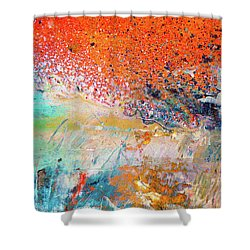 Big Shot - Orange And Blue Colorful Happy Abstract Art Painting Shower Curtain