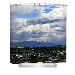 Big Sky Over Oamaru Town Shower Curtain