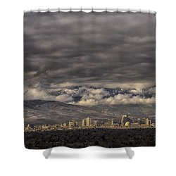 Shower Curtain featuring the photograph Big Sky Over Reno by Janis Knight
