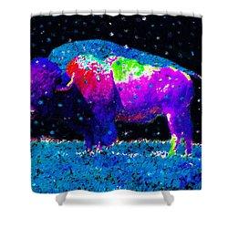 Big Snow Buffalo Shower Curtain by David Lee Thompson