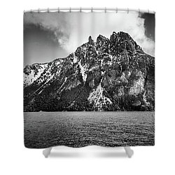 Big Snowy Mountain In Black And White Shower Curtain