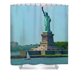 Big Statue, Little Boat Shower Curtain by Sandy Taylor