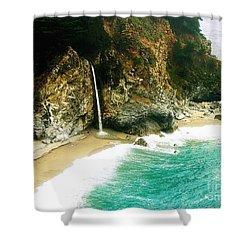 Big Sur Waterfall Shower Curtain by Jerome Stumphauzer