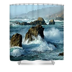 Big Sur Winter Wave Action Shower Curtain by Amelia Racca