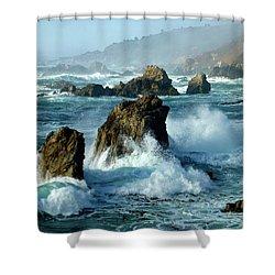 Big Sur Winter Wave Action Shower Curtain