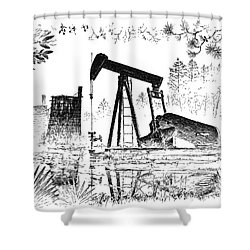 Big Thicket Oilfield Shower Curtain