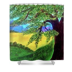 Shower Curtain featuring the painting Big Tree In Meadow by Sonya Nancy Capling-Bacle