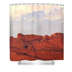Big View Kissing Camels N Pikes Peak Shower Curtain by Clarice Lakota