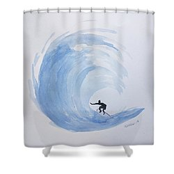 Shower Curtain featuring the painting Big Wave Surfing by Edwin Alverio