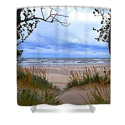 Big Waves On Lake Michigan 2.0 Shower Curtain by Michelle Calkins