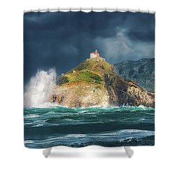 Big Waves Over San Juan De Gaztelugatxe Shower Curtain
