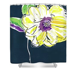 Shower Curtain featuring the mixed media Big Yellow Flower- Art By Linda Woods by Linda Woods