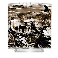 Bike Against The Fence Shower Curtain by Madeline Ellis
