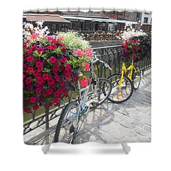 Bike And Flowers Shower Curtain by Therese Alcorn