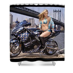 Bike, Babe, And Bridge In The Big Apple Shower Curtain