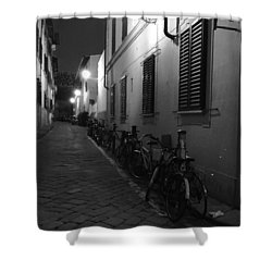 Bike Lined Alley Shower Curtain