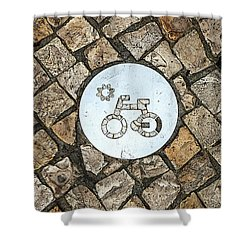 Bike Path Sign On A Cobblestone Pavement Shower Curtain