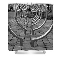 Bike Rack Black And White Version Shower Curtain by John S