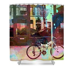 Shower Curtain featuring the digital art Bike Ride To Runyons by Susan Stone