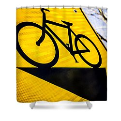 Shower Curtain featuring the photograph Bike Sign by Wade Brooks
